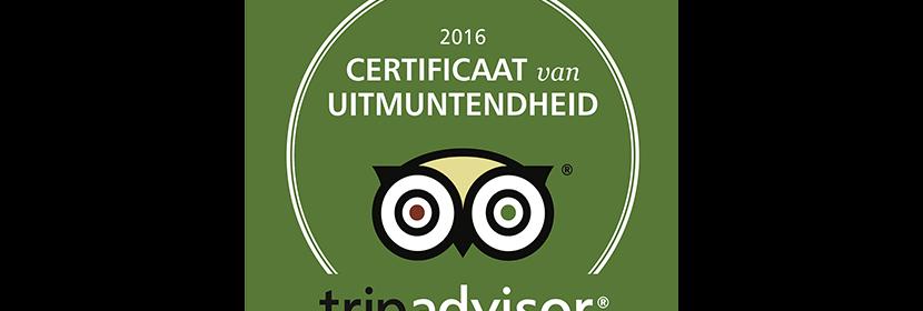 TripAdvisor | Certificaat van Uitmuntendheid | 2016